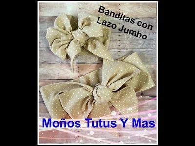 BANDITA DE TELA CON LAZO JUMBO Paso a Paso JUMBO BOW HEADBAND Tutorial DIY How To PAP