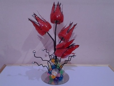 Best Out Of Waste Plastic and CD Flower Showpiece