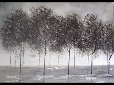 Black and White Trees Part 1 | Beginner Acrylic Painting | Easy Landscape in Grayscale