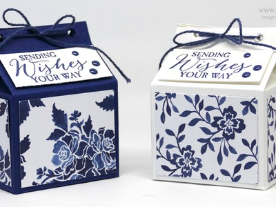 Blue Floral Fat Milk Carton using Stampin' Up! Floral Boutique DSP