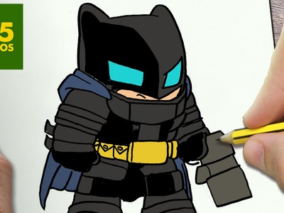 COMO DIBUJAR BATMAN CON ARMADURA KAWAII PASO A PASO - Dibujos kawaii faciles - How to draw BATMAN