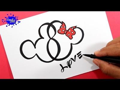 Como dibujar un corazón Mickey Mouse. How to draw a heart Mickey Mouse.