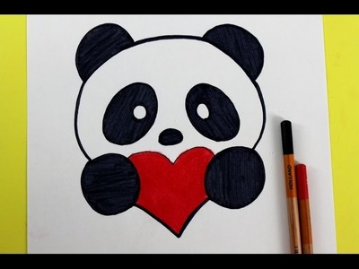 Como Dibujar un panda Kawaii - FACIL | How to Draw a Panda with a Love Heart