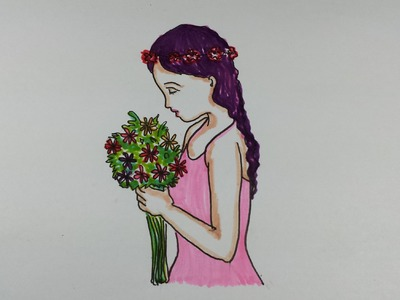 Drawing Tutorial~How to draw a girl holding a bouquet of flowers~