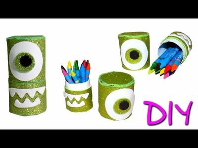 Estuche Lapicera Cajita Dulcero Mike Wazowski reciclando tubos de carton Life Hacks DIY MANUALIDADES