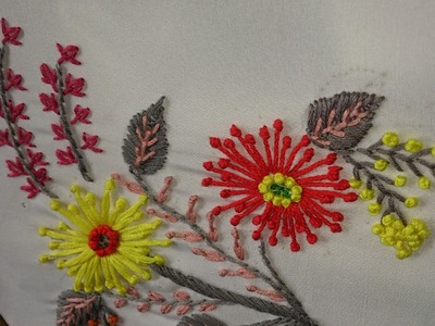 Hand embroidery-#27-long french knot flowers, fly stitch leaves-leisha's galaxy.