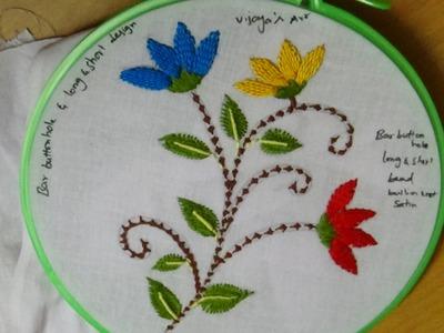 Hand Embroidery Designs # 122 - Bar buttonhole & long & short Stitch designs