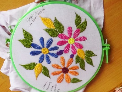 Hand Embroidery Designs # 130 - Wine stitch flower design