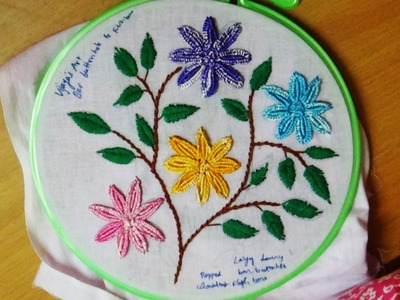 Hand Embroidery Designs # 136 - Bar Buttonhole & Fishbone stitch design
