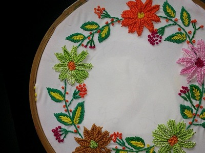 Hand embroidery-detached button hole stitch-leisha's galaxy.