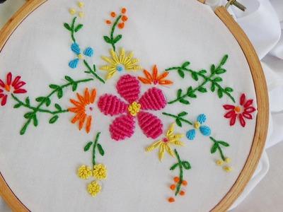Hand Embroidery: Flower Stitch (Bullion Lazy, French Knot. )