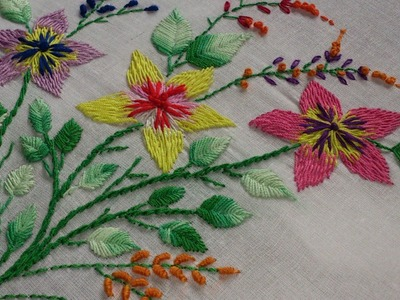 Hand embroidery- romanian stitch flowers and fish bone leaves- leisha's galaxy.