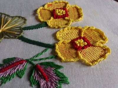 Hand Embroidery stitches tutorial. hand embroidery design by hand.
