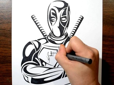 How to Draw Deadpool - Tribal Tattoo Design Style