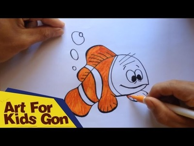 How To Draw Nemo For Kids - Bubble Guppies - Nemo Fish Cartoon Movie