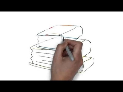 How to draw stack of three books and book
