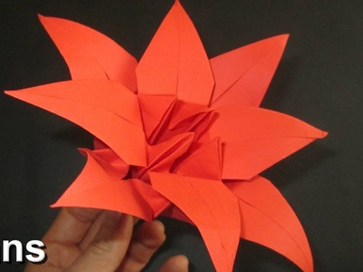 How to make an Oriami Lily Flower with 8 petals - New folds included