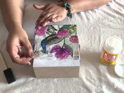 Napkin Decoupage on MDF jewellery box