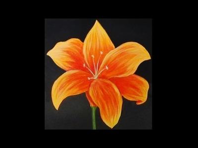 Orange Lily Acrylic Painting
