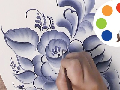 Painting Gzhel with an acrylic paint and a flat brush, irishkalia