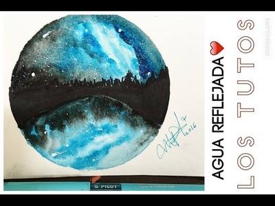 PAISAJE DE NOCHE  CON REFLEJO - how draw in watercolor