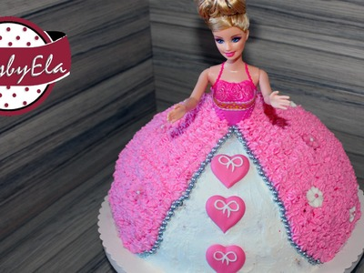 Princess barbie doll cake with whipped cream or icing