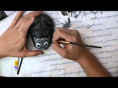Rock Painting of a Cute Furry Mouse