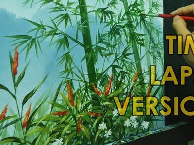 Time-Lapse Acrylic Painting Demo - Bamboos on Misty Mountains by JMLisondra