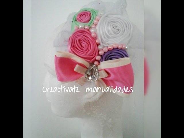 Tocado de rosas en liston para diadema.Rosas de liston.Hairbows.diademas.Creactivate Manualides.DIY