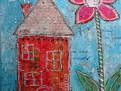 Whimsical House Canvases - mixed media on canvas