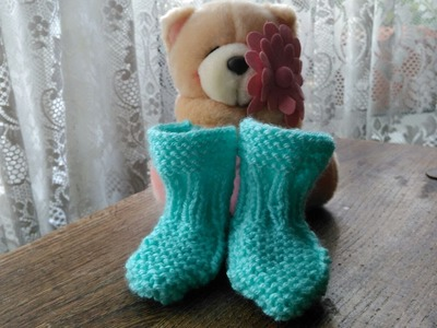 0-3 Months Knitted Booties.Socks | Beginners