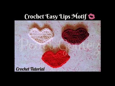 Crochet Made Easy - How to make Pretty Lips Motif (Step by Step Tutorial) ♥ Pearl Gomez ♥