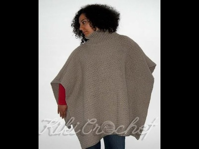Crochet Turtleneck Poncho