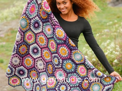 How to crochet the hexagon for the blanket in DROPS 171-59