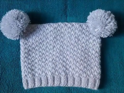 Knitting  Lesson № 56 Baby beanie for boys with pompoms