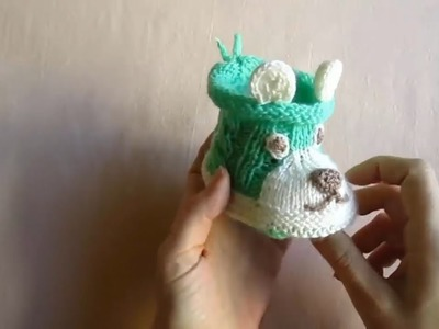 Knitting  Lesson № 58 Baby slippers Doggie Part 1