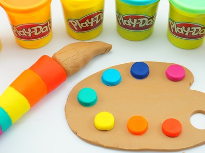 Play-Doh How To Make Paint Tools Rainbow Colors - Creative DIY Fun for Kids with Play Dough