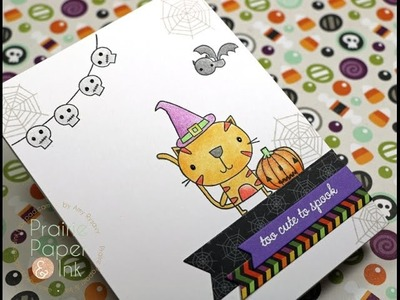 Reverse Confetti Too Cute to Spook | Polychromos & Gamsol | AmyR 2016 Halloween Card Series #6