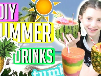 5 DIY SUMMER DRINKS | Quick & Healthy | Shaved Ice, Rainbow Smoothie, Watermelon Slushie + More