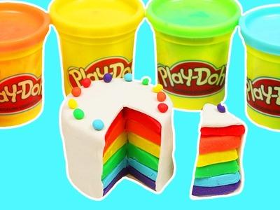 How to Make Beautiful Play Doh RAINBOW CAKE Fun & Easy DIY Play Dough Sweet Treats!