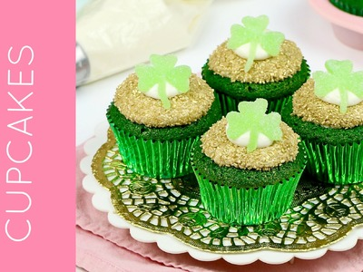 St. Patrick's Day Green Velvet Cupcakes with DIY Shamrocks