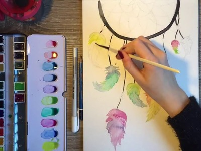 How To Draw a Dreamcatcher - Watercolor