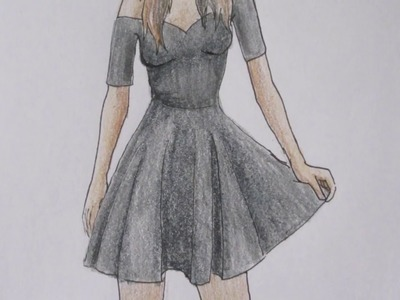 HOW TO DRAW a girl in a black dress