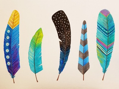 How to Paint 5 Gorgeous Feathers Easy Acrylic Painting Tutorial for Beginners