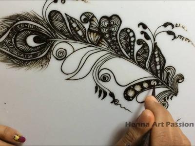 Simple mehendi chapter 7 : Zentangle art inspire mehendi henna art Feather henna design