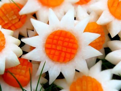 Art In Vegetable White SunFlowers | Vegetable Carving Garnish | Party Garnishing