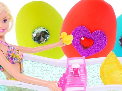 Barbie Play Doh Egg Bath Tub! Barbie Doll Surprise Egg Opening Frozen Inside Out Chocolate Toy Eggs