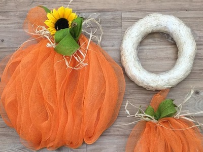 Crankin' Out Crafts   ep499 Straw Wreath Deco Mesh Pumpkin