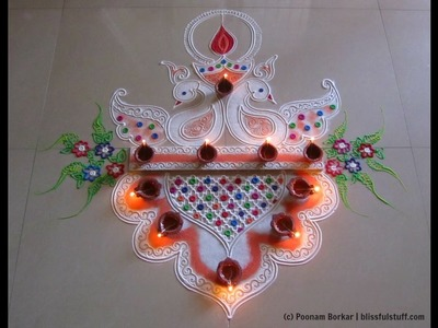 Diwali special easy and unique peacock rangoli design | Innovative rangoli designs by Poonam Borkar