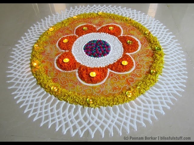 Diwali special flowers rangoli | Rangoli designs by Poonam Borkar